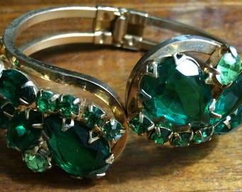 Vintage Green Juliana Clamper Bangle Bracelet