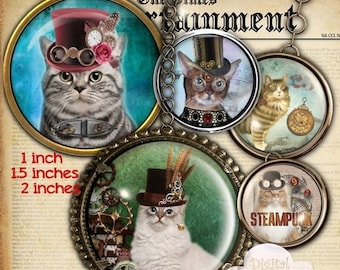80% OFF Summer Sale Steampunk Cat 1 Inch, 1.5 inch and 2 inches Digital Collage Sheet Bottle Cap Images Round Circles for Jewelry Making, Cu