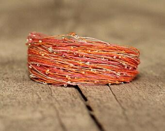 Unique Bracelet, Orange Pink Bracelet, Bohemian Jewelry, Linen Bracelet, Boho Bracelet, Gift for Friend, Magnetic Bracelet, Artisan Jewelry
