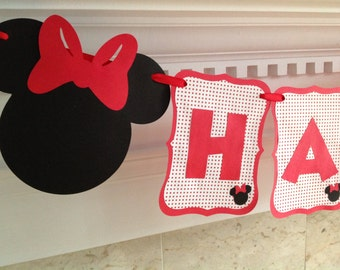 MINNIE MOUSE Red Bow Polka Dot Happy Birthday Disney Banner