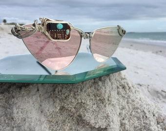 Artisan Circuitry & Opal Sunglasses, Pink Cat Eye Sunglasses Women, SPUNGLASSES, Next Level Sunglasses, Costume Sunglasses Cosplay Eyewear