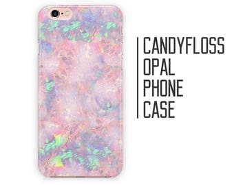 Candy Floss Opal Phone Case - Pink Opal Stone Marble for iPhone X 8 Plus 7 6 6s 5 5s 5c SE + Samsung S6 S7 S8+
