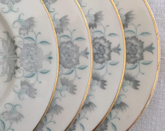 Teal, Turquoise Bread Plates, Silvery Gray, Set of 4