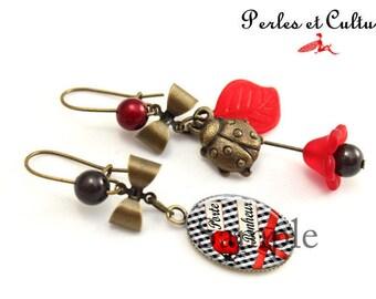 Earrings ღvichy ღ lucky red blancღ ღnoir bow ღcoccinelle clover fleurღ ღ ღ