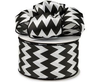 "5yds x 2-1/2"" BLACK & WHITE Satin Chevron Print Wired Edge Ribbon"