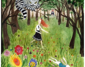 Giclee Art Print, Illustration, Watercolor, Alice in Wonderland, Chesire Cat, White rabbit, Fairy tale picture book