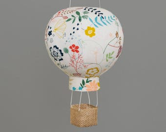 Hot Air Balloon Decor in Wildflower - Nursery Art, Girl Baby Shower Decoration and Newborn Gifts