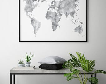 Watercolor world map etsy world map print watercolor world map watercolor print watercolor map poster instant gumiabroncs Image collections
