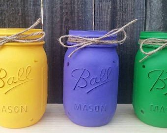 Mason Jars Set, Mardi Gras Party, Mardi Gras Decor, Purple Green Golden Yelow, Home Decor, Table Centerpieces, Wedding Decor,