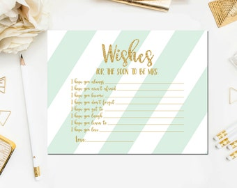 Wishes for the Soon to Be Mrs Cards, Bridal Shower Wishes for Bride to Be, Gold Mint Printable Bridal Shower Wishes Instant Download BR18