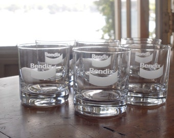 6 Bendix logo rocks glasses, vintage drinking glasses, lowball, old fashioned tumblers, brakes, South Bend Indiana, barware, frosted, etched