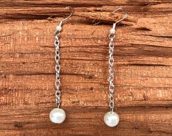 Delicate Pearl Chain Earrings