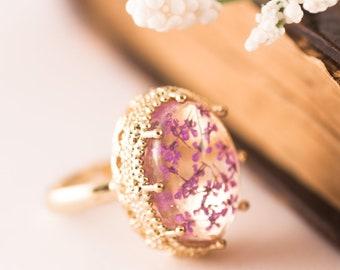 Real Flower Ring, Purple Flower Ring, Botanical Ring, Botanical Jewelry, Dried Flower Ring, Lavender Ring, Adjustable Ring, Gift For Woman