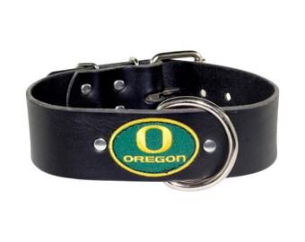 "2"" Black Leather Oregon Ducks Dog Collar - Oregon Ducks Leather Dog Collar - Ducks dog collar"