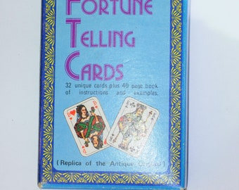Vintage Fortune Telling Cards Merrimack A3705 32 cards with book, playing cards, fortune cards, oracle cards deck 1970s