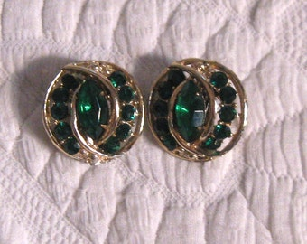 Emerald Earrings .  emerald Rhinestone Earrings