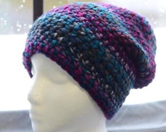 Slouchy Crochet Beanie With PomPom Option