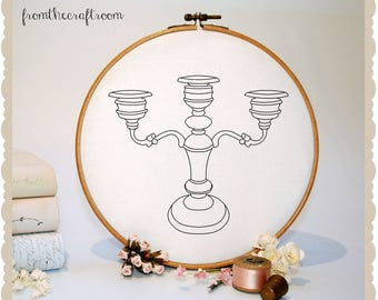 Candelabra Hand Embroidery Pattern