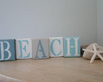 Beach blocks, beach sign, beach letters, coastal decor, beach decor, coastal shelf sitter, letter blocks