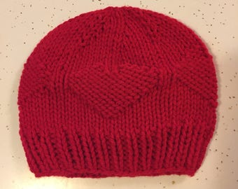 Hand Knit Hearts Baby Beanie Hat