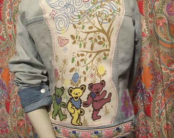 Grateful Dead Upcycled Jean Jacket size XL Dancing Bears