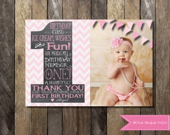 Chalkboard Thank You Card, First Birthday Thank You, The Big One, Thank You Note, Pink, Blue, Digital Printable, Shabby Chic thank You
