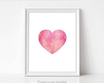 Giclee art print / Wall art / Blush pink wall art / Watercolor heart / Best selling art / Pretty wall prints / Gift ideas for friends /