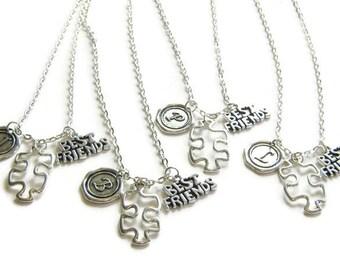 4 Best Friends Necklaces, Puzzle Piece Necklaces, Initial Necklaces, Four Best Friends Jewelry, Four Best Friends Necklaces,