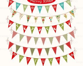 "Christmas bunting flags clipart: ""Xmas Bunting Banners"" bunting clipart, christmas bunting, digital bunting, polkdot bunting, 7 images"