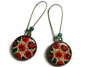 Orange Dangle Earrings - Orange flowers - Orange Flower Earrings - Orange Jewelry - boho earrings - vintage style earrings - automn earrings