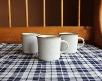 Set of 3 Vintage Haniwa Stoneware Mugs