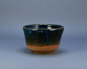 Vintage Japanese Pottery Green Blue Glaze Chawan Tea Bowl