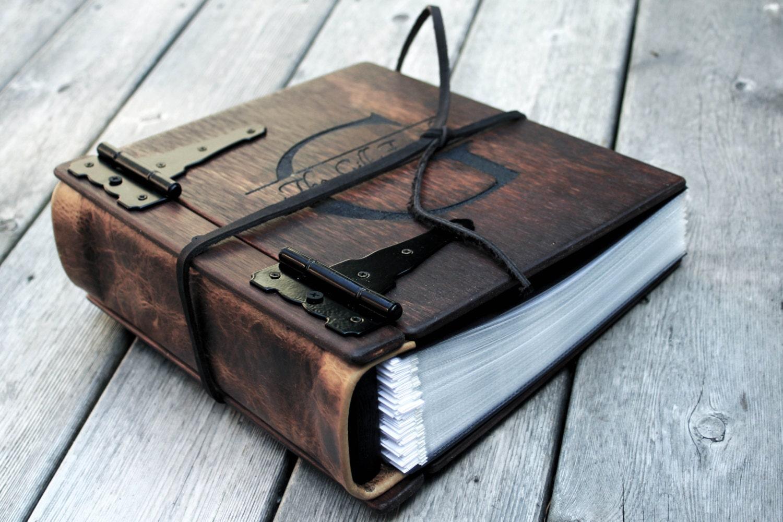 Monogram Photo Album, Wood & Leather Artist Portfolio, Rustic ...