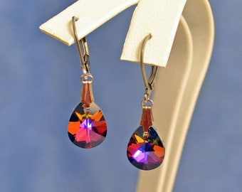 Made With Swarovski Volcano Pear Cut  Dangle Antiqued Silver  Lever Earrings Sparkle LARP Red Purple Orange