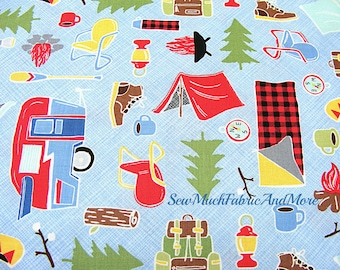 Camping theme Fun fabric~by the 1/2 yard or yard~Timeless treasures-Whimsy-whimsical-sky blue-cotton-campers-tents-canoes