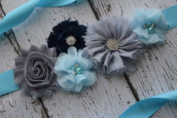 Flower Sash, light blue  grey dark navy Sash , flower Belt, maternity sash