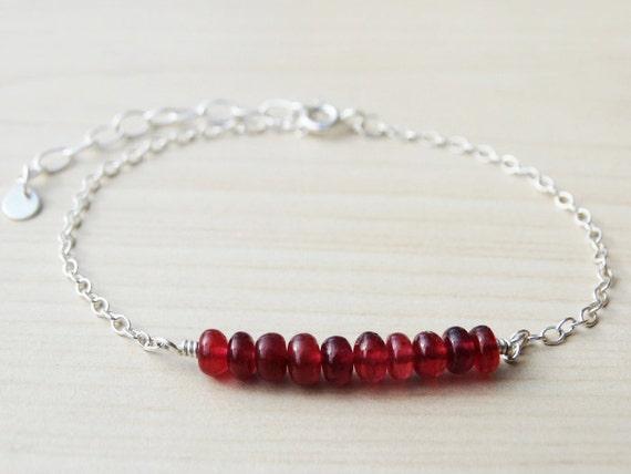 Ruby & Silver Bracelet - Sterling Silver