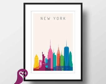New York Skylink Poster | NYC | Statue of Liberty | Architecture | Sketch | Wall Art | Wall Decor | Home Decor | Prints | Poster | Digital