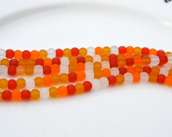 Indian Corn 4mm Multi Color Frosted Glass Beads  53