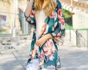Chiffon Flower Print Kimono Cardigan -Green