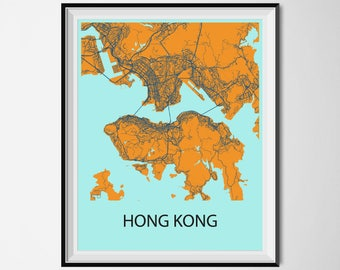 Hong kong map art hong kong wall art print poster hong kong map poster print orange and blue gumiabroncs Choice Image