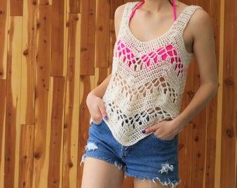 Crochet top pattern, Women crochet pattern, Patron crochet, Calida crop top pattern, beach cover-up, Beginner top pattern sizes S,M,L,XL,XXL