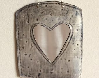 Little mirror, hand stamped tin, with heart design