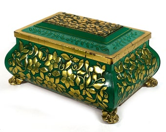 Vintage Fancy Metal Storage Tin, Footed, Emerald Green and Gold with Embossed Flowers