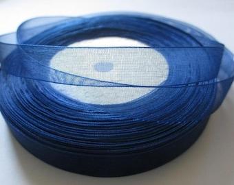 10 m 12mm dark blue organza Ribbon