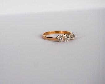 Diamond Three Stone Vintage Ring