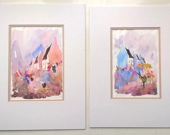 Pair of Contemporary Watercolour Paintings in Pastel Colours Rows of Cottages