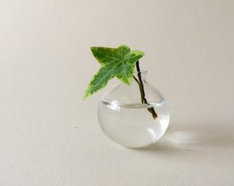 Clear mini bud vase, hand made blown glass