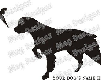 Brittany Spaniel Decal - Dog with Flushing Pheasant - Vinyl Car Decal - Custom Black or you pick the color