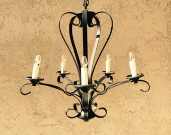 Black Wrought Iron Chandelier, Vintage Spanish Revival Scroll Chandelier, Scrollwork Lighting